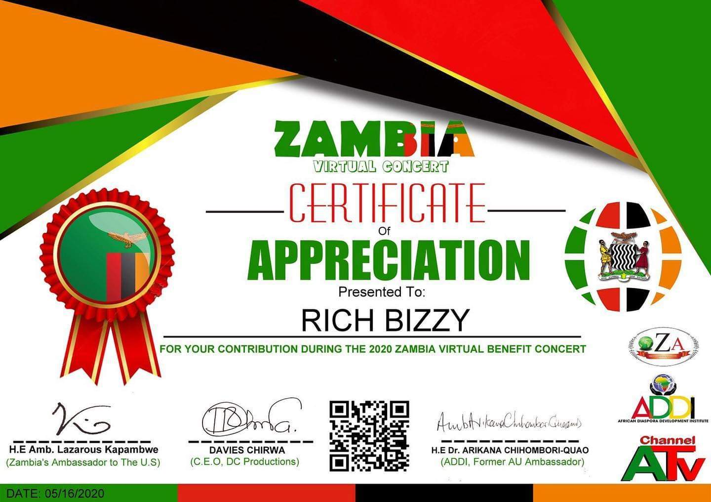 Rich Bizzy awarded for contribution during 2020 virtual benefit concert