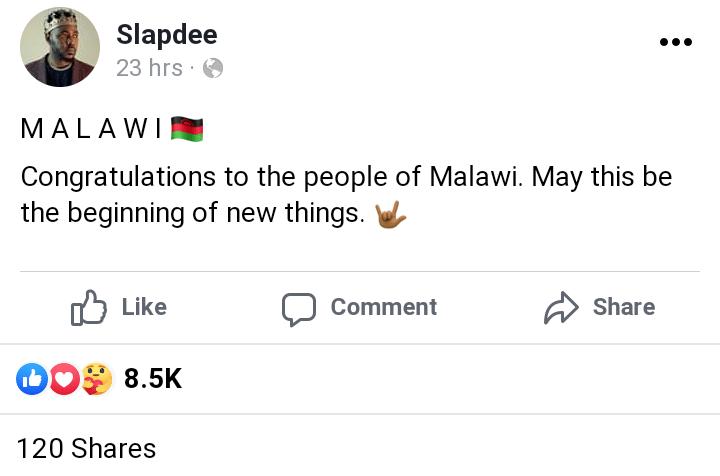 Slapdee congratulates Malawi