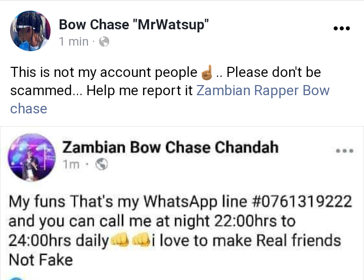 Bow Chase fake page